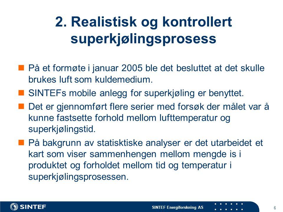 SINTEF Energiforskning AS 6 2. Realistisk og kontrollert superkjølingsprosess  På et formøte i januar 2005 ble det besluttet at det skulle brukes luf