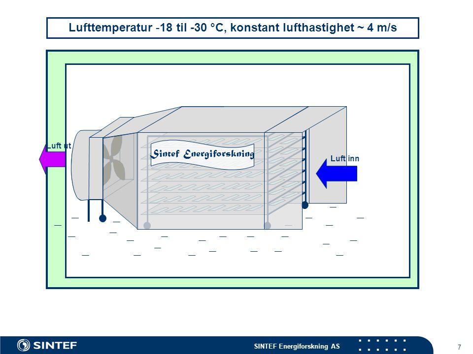 SINTEF Energiforskning AS 7 Lufttemperatur -18 til -30 °C, konstant lufthastighet ~ 4 m/s Sintef Energiforskning Luft inn Luft ut