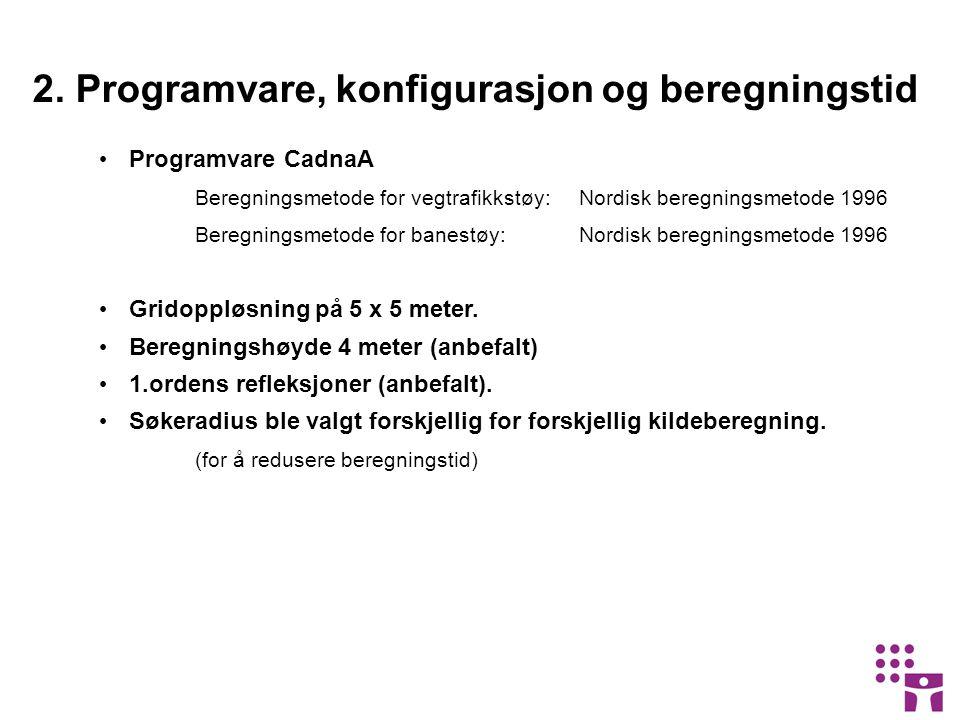 • Programvare CadnaA Beregningsmetode for vegtrafikkstøy: Nordisk beregningsmetode 1996 Beregningsmetode for banestøy:Nordisk beregningsmetode 1996 • Gridoppløsning på 5 x 5 meter.