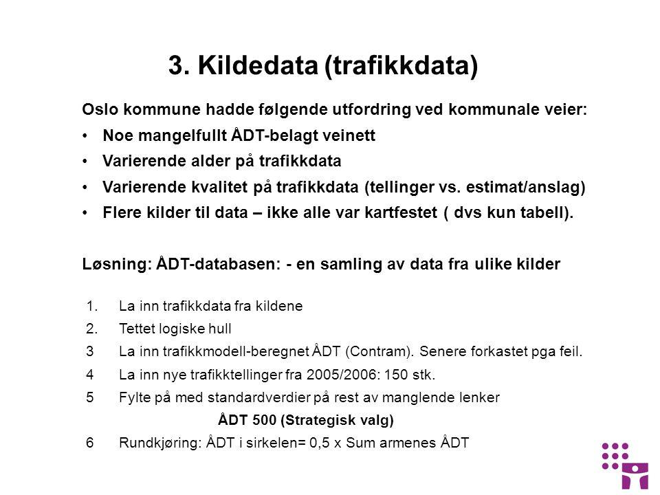 3. Kildedata (trafikkdata) Oslo kommune hadde følgende utfordring ved kommunale veier: •Noe mangelfullt ÅDT-belagt veinett •Varierende alder på trafik