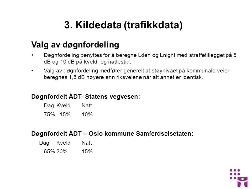 3. Kildedata (trafikkdata) Valg av døgnfordeling •Døgnfordeling benyttes for å beregne Lden og Lnight med straffetillegget på 5 dB og 10 dB på kveld-