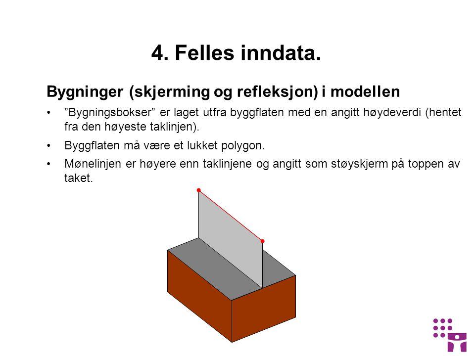 """Bygninger (skjerming og refleksjon) i modellen •""""Bygningsbokser"""" er laget utfra byggflaten med en angitt høydeverdi (hentet fra den høyeste taklinjen)"""
