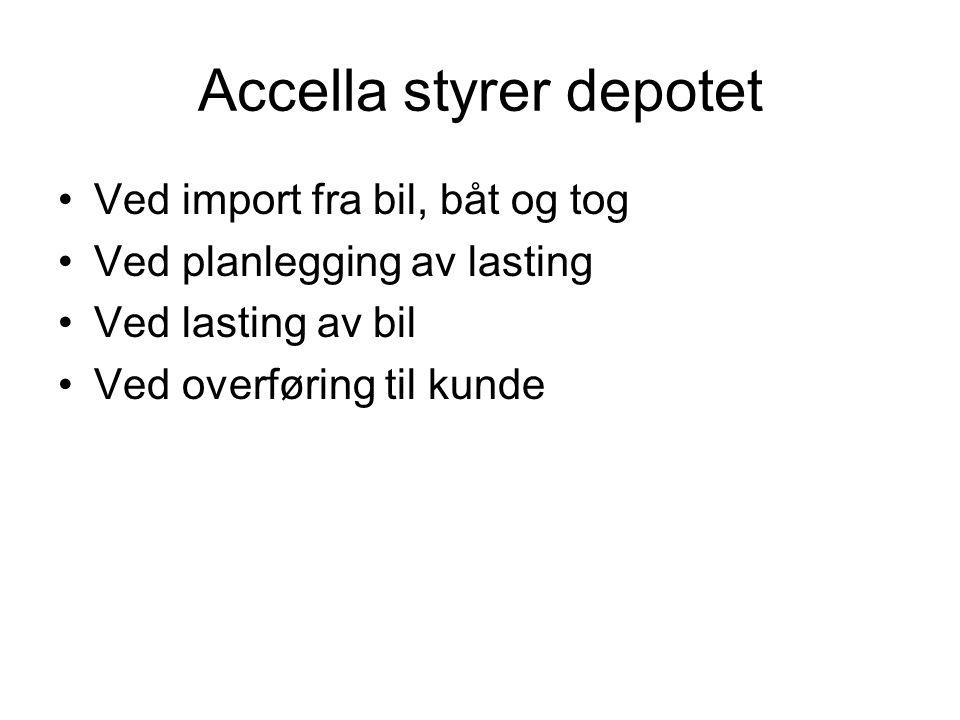 Accella styrer depotet •Ved import fra bil, båt og tog •Ved planlegging av lasting •Ved lasting av bil •Ved overføring til kunde