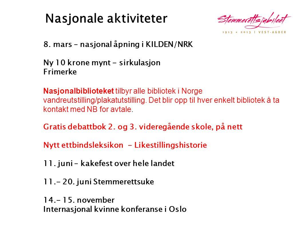 Nasjonale aktiviteter 8. mars – nasjonal åpning i KILDEN/NRK Ny 10 krone mynt - sirkulasjon Frimerke Nasjonalbiblioteket tilbyr alle bibliotek i Norge