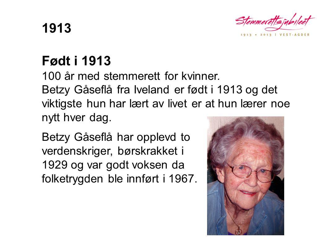 Født i 1913 100 år med stemmerett for kvinner. Betzy Gåseflå fra Iveland er født i 1913 og det viktigste hun har lært av livet er at hun lærer noe nyt