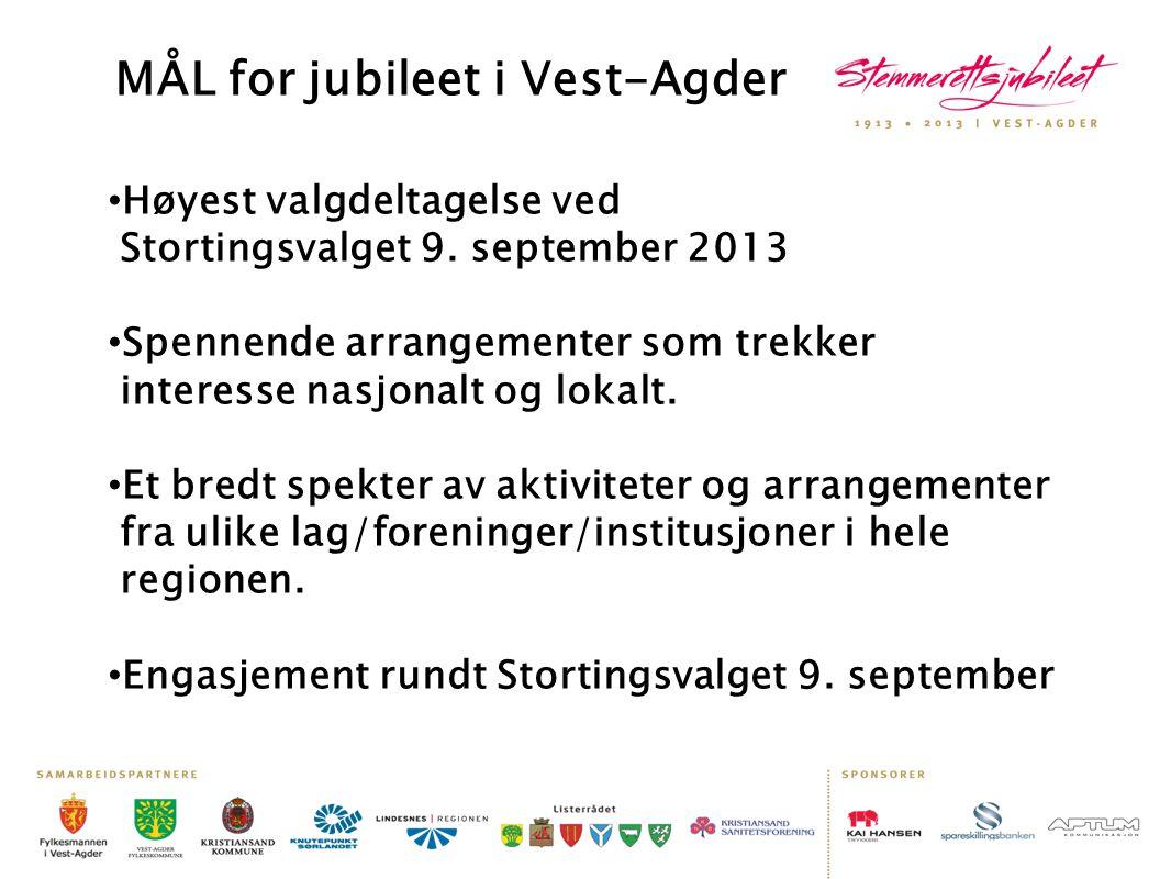 MÅL for jubileet i Vest-Agder • Høyest valgdeltagelse ved Stortingsvalget 9. september 2013 • Spennende arrangementer som trekker interesse nasjonalt