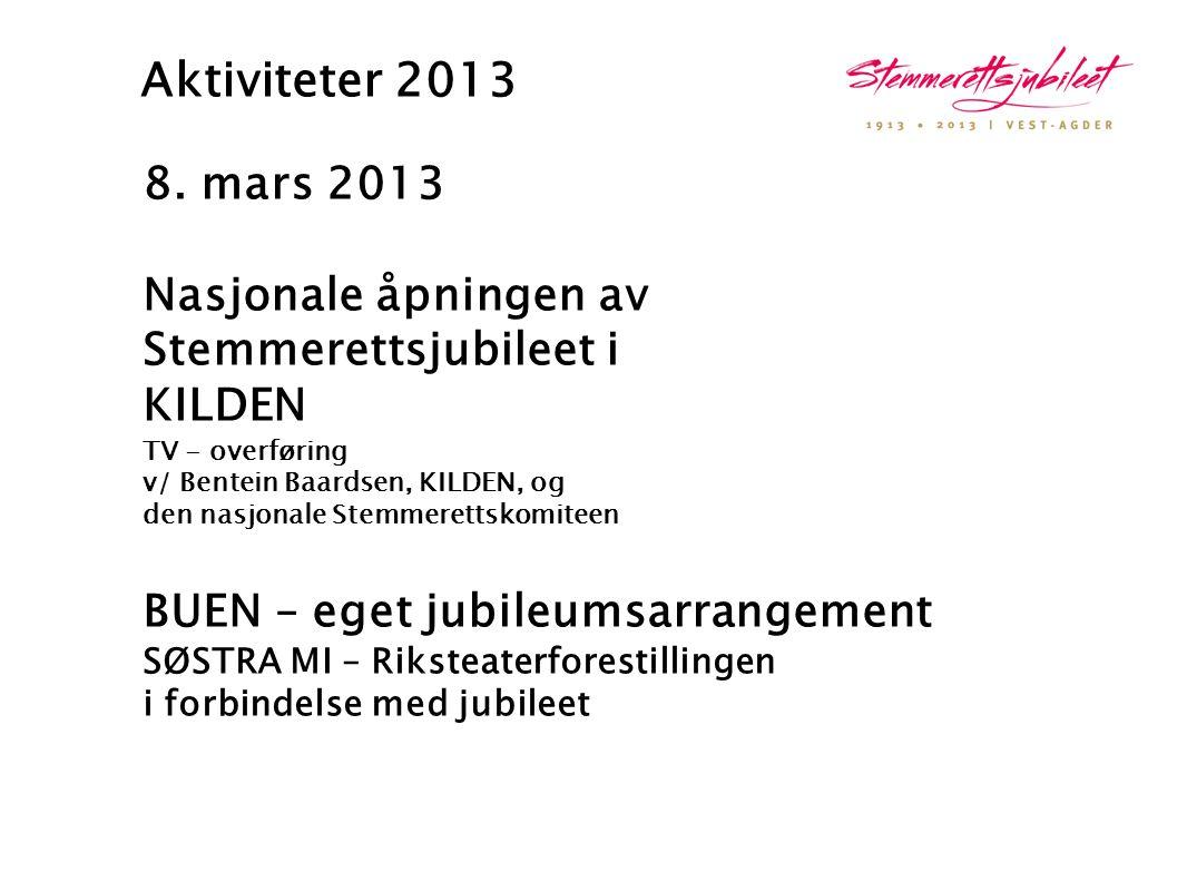 Aktiviteter 2013 8. mars 2013 Nasjonale åpningen av Stemmerettsjubileet i KILDEN TV - overføring v/ Bentein Baardsen, KILDEN, og den nasjonale Stemmer