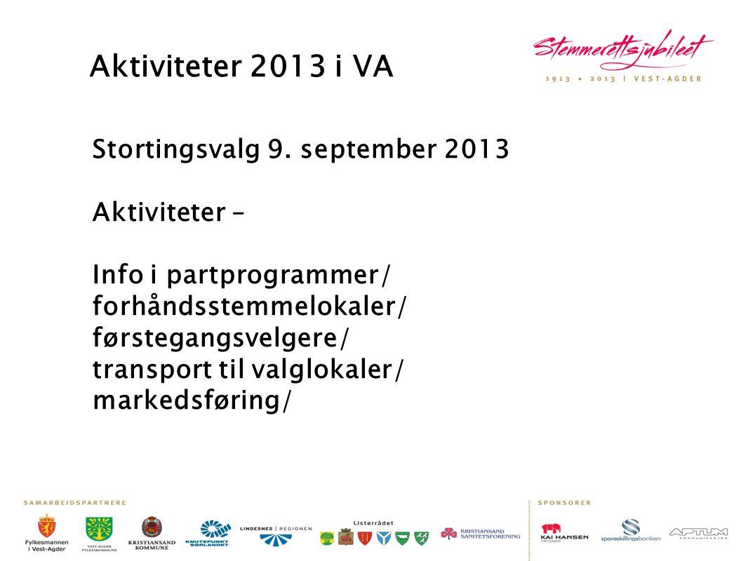 Aktiviteter 2013 i VA Stortingsvalg 9. september 2013 Aktiviteter – Info i partprogrammer/ forhåndsstemmelokaler/ førstegangsvelgere/ transport til va