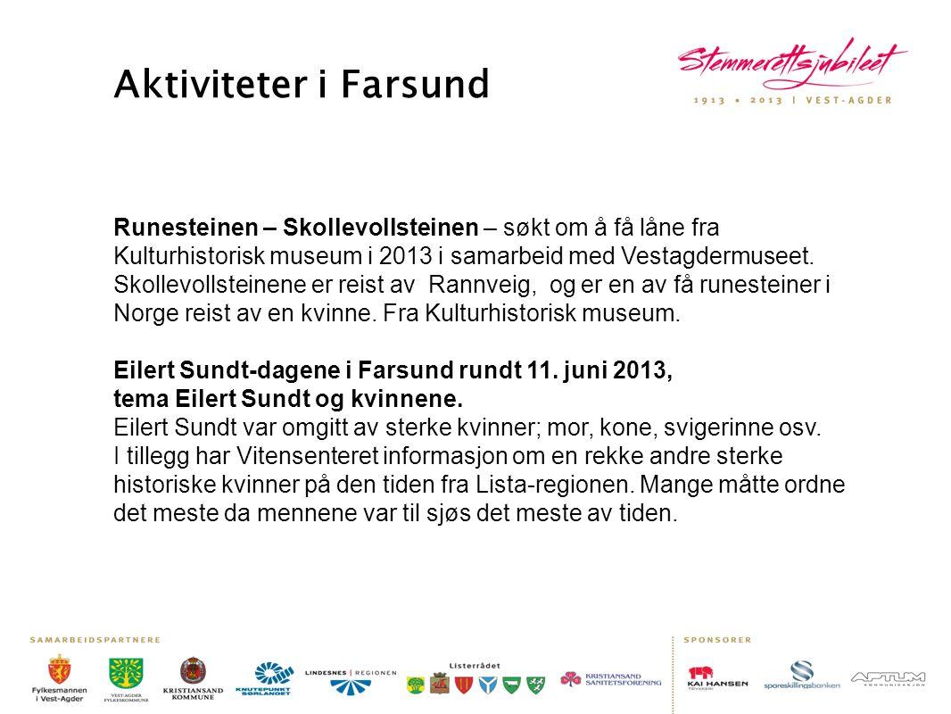 Aktiviteter i Farsund Runesteinen – Skollevollsteinen – søkt om å få låne fra Kulturhistorisk museum i 2013 i samarbeid med Vestagdermuseet. Skollevol