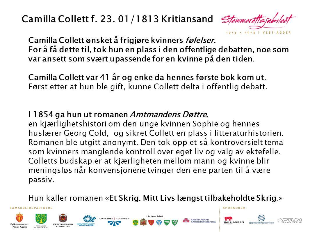 Camilla Collett ønsket å frigjøre kvinners følelser. For å få dette til, tok hun en plass i den offentlige debatten, noe som var ansett som svært upas