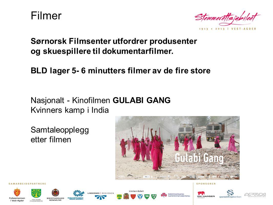 Filmer Sørnorsk Filmsenter utfordrer produsenter og skuespillere til dokumentarfilmer. BLD lager 5- 6 minutters filmer av de fire store Nasjonalt - Ki
