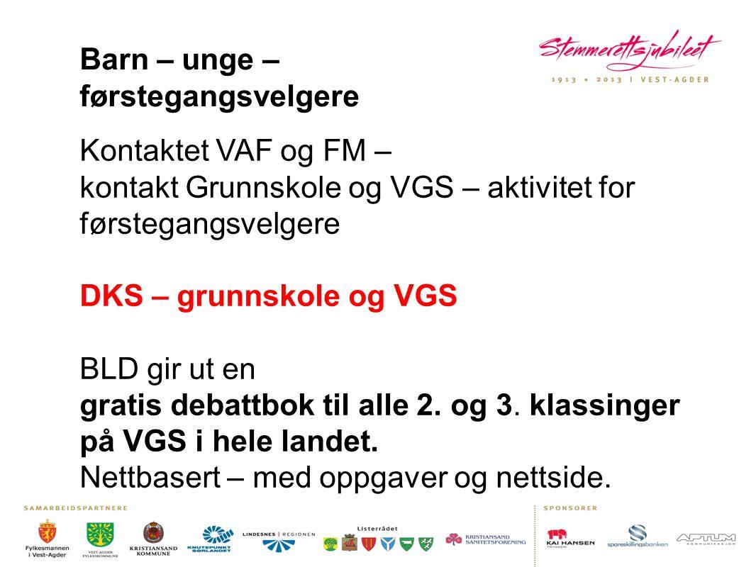 Barn – unge – førstegangsvelgere Kontaktet VAF og FM – kontakt Grunnskole og VGS – aktivitet for førstegangsvelgere DKS – grunnskole og VGS BLD gir ut