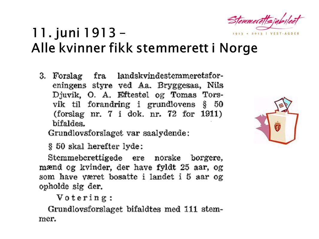11. juni 1913 – Alle kvinner fikk stemmerett i Norge