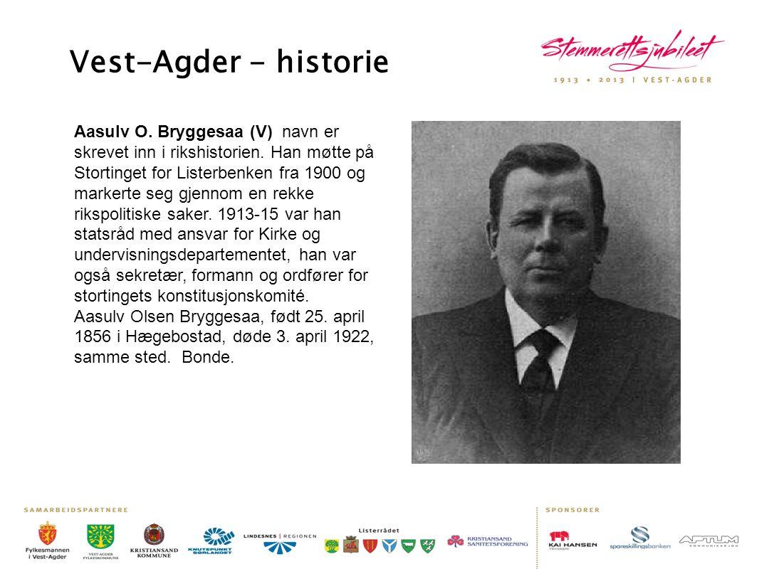 Aasulv O. Bryggesaa (V) navn er skrevet inn i rikshistorien. Han møtte på Stortinget for Listerbenken fra 1900 og markerte seg gjennom en rekke rikspo