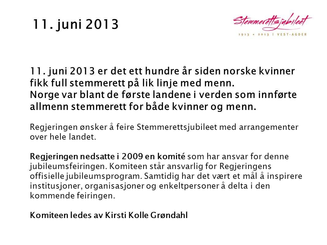 11. juni 2013 11. juni 2013 er det ett hundre år siden norske kvinner fikk full stemmerett på lik linje med menn. Norge var blant de første landene i
