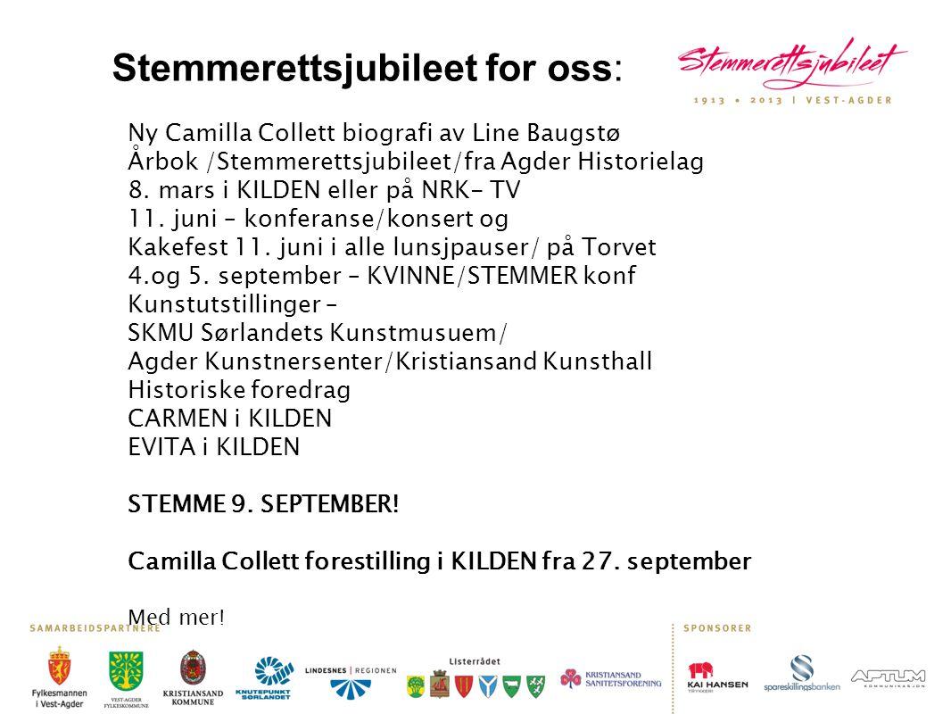 Ny Camilla Collett biografi av Line Baugstø Årbok /Stemmerettsjubileet/fra Agder Historielag 8. mars i KILDEN eller på NRK- TV 11. juni – konferanse/k