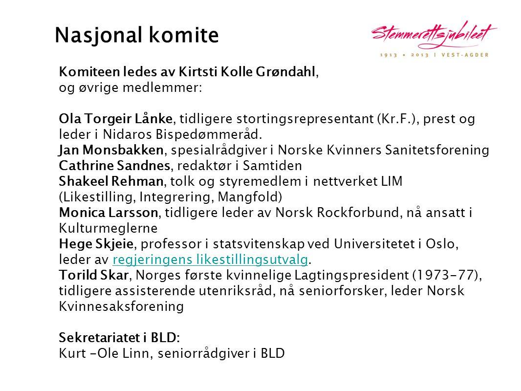 Nasjonal komite Komiteen ledes av Kirtsti Kolle Grøndahl, og øvrige medlemmer: Ola Torgeir Lånke, tidligere stortingsrepresentant (Kr.F.), prest og le