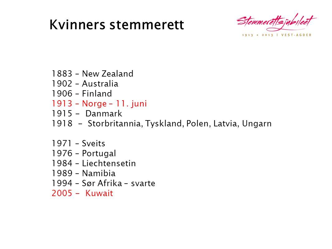 Kvinners stemmerett 1883 – New Zealand 1902 – Australia 1906 – Finland 1913 – Norge – 11. juni 1915 - Danmark 1918 - Storbritannia, Tyskland, Polen, L