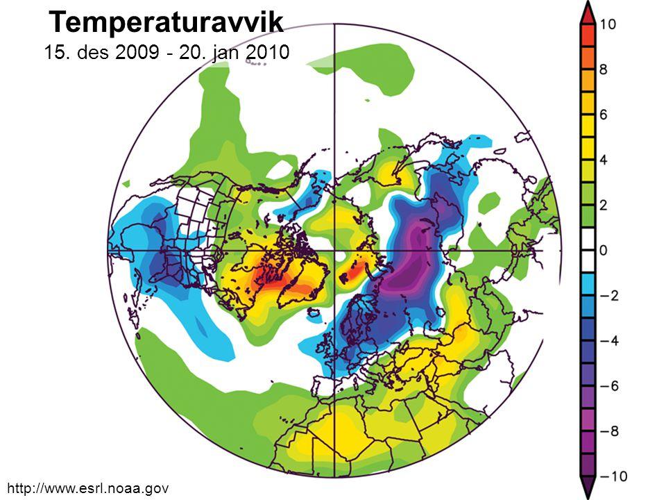 Helge Drange Geofysisk institutt Universitetet i Bergen Vinteren 2009/2010 (?) Temperaturavvik 15. des 2009 - 20. jan 2010 http://www.esrl.noaa.gov