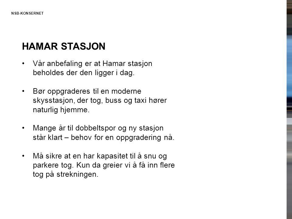 HAMAR STASJON •Vår anbefaling er at Hamar stasjon beholdes der den ligger i dag. •Bør oppgraderes til en moderne skysstasjon, der tog, buss og taxi hø