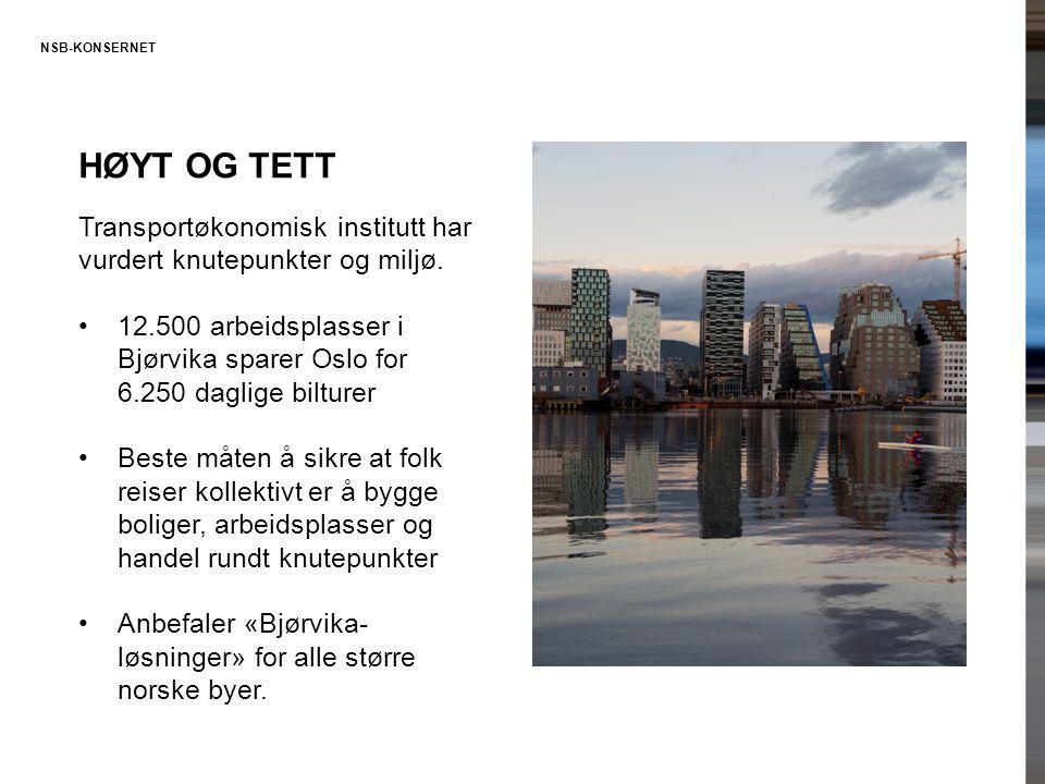 NSB-KONSERNET HØYT OG TETT Transportøkonomisk institutt har vurdert knutepunkter og miljø. •12.500 arbeidsplasser i Bjørvika sparer Oslo for 6.250 dag