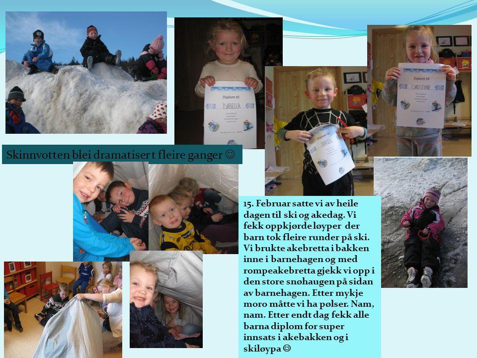 15. Februar satte vi av heile dagen til ski og akedag. Vi fekk oppkjørde løyper der barn tok fleire runder på ski. Vi brukte akebretta i bakken inne i