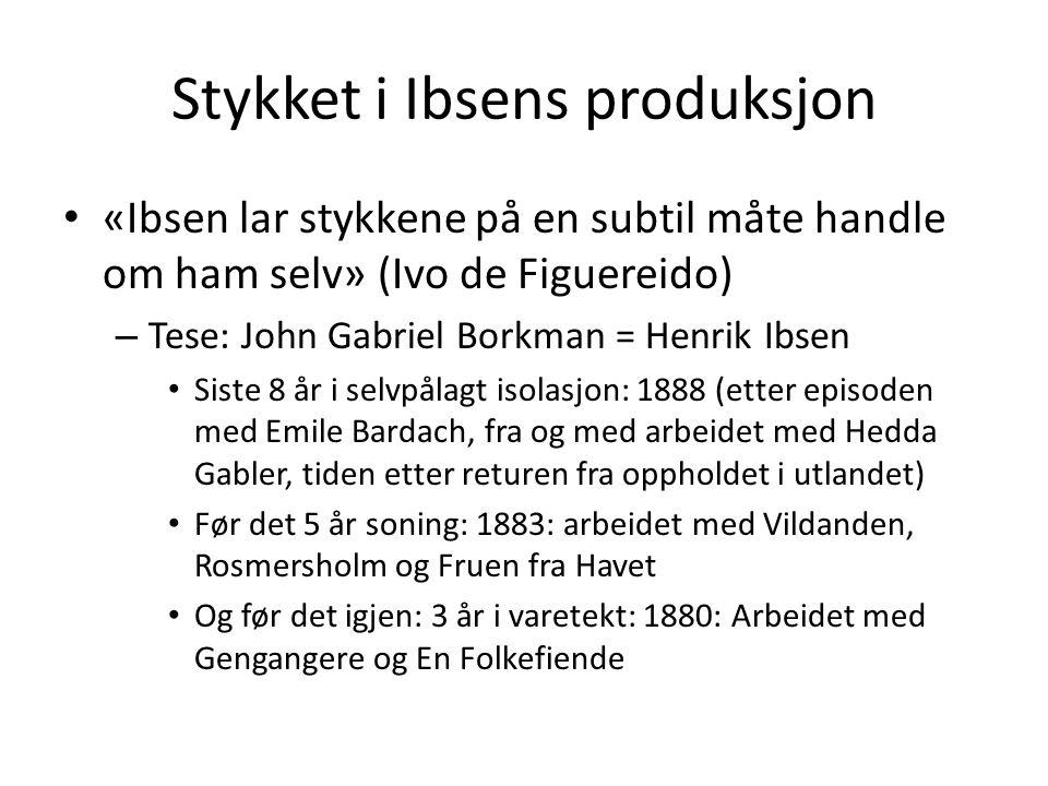 Stykket i Ibsens produksjon • «Ibsen lar stykkene på en subtil måte handle om ham selv» (Ivo de Figuereido) – Tese: John Gabriel Borkman = Henrik Ibse