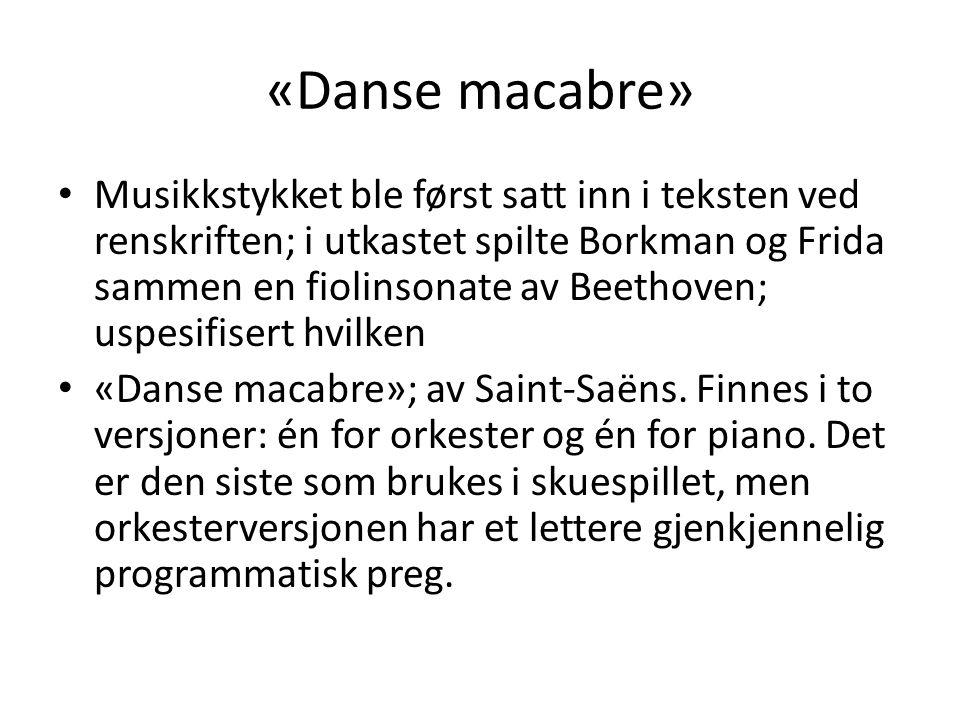 «Danse macabre» • Musikkstykket ble først satt inn i teksten ved renskriften; i utkastet spilte Borkman og Frida sammen en fiolinsonate av Beethoven;