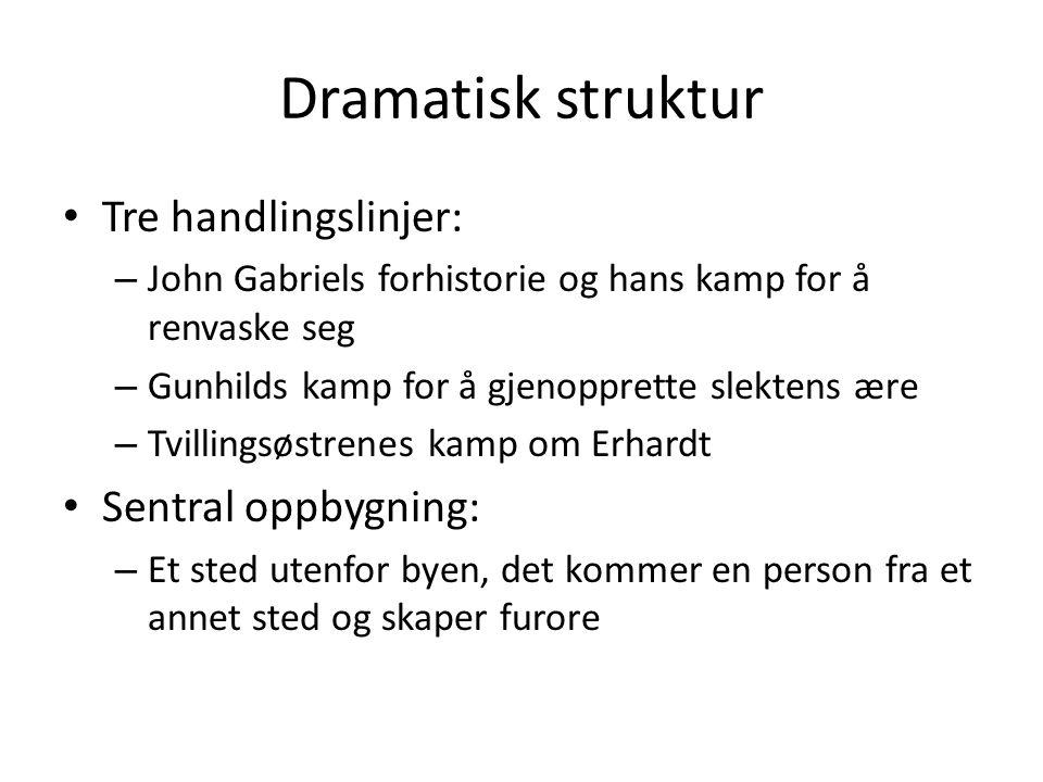Dramatisk struktur • Tre handlingslinjer: – John Gabriels forhistorie og hans kamp for å renvaske seg – Gunhilds kamp for å gjenopprette slektens ære