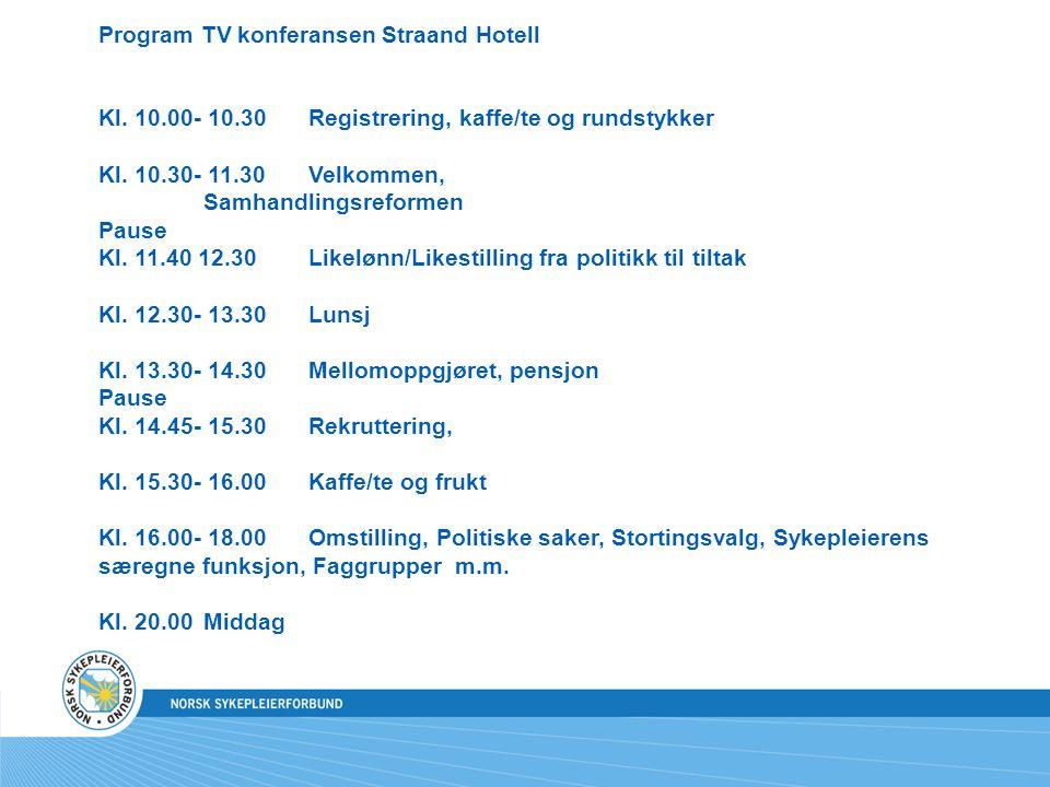 Program TV konferansen Straand Hotell Kl. 10.00- 10.30Registrering, kaffe/te og rundstykker Kl.