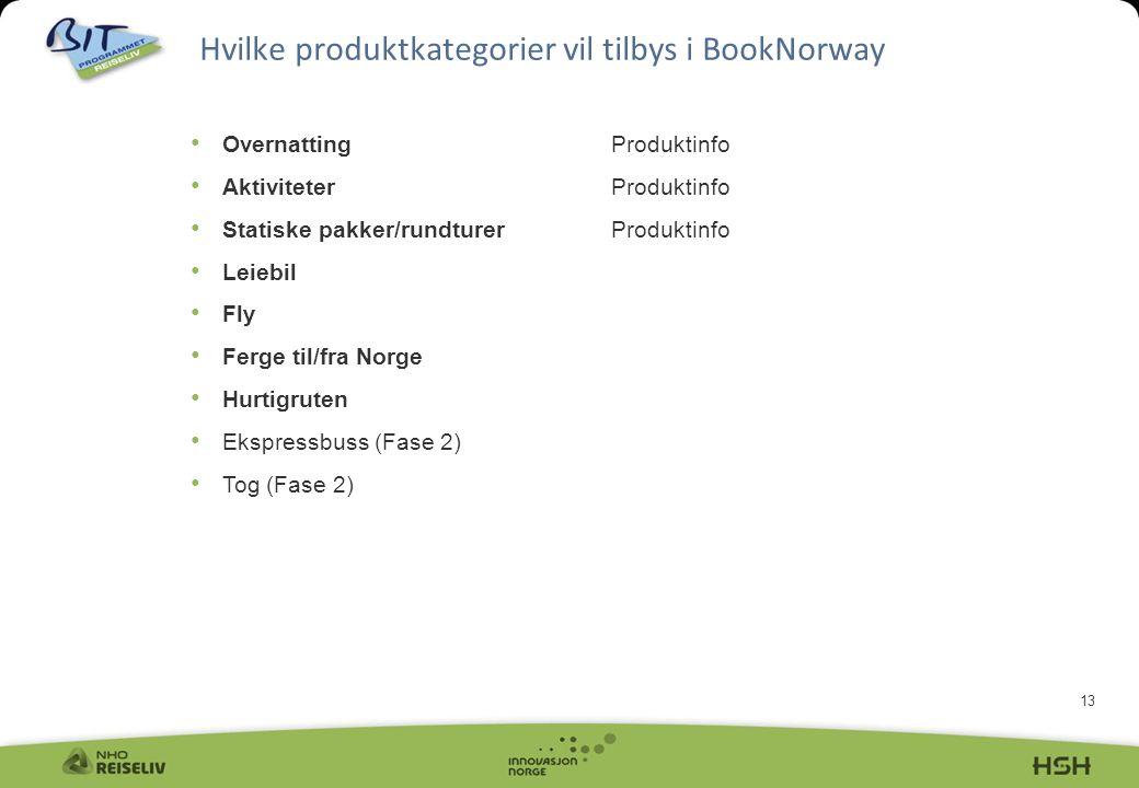 13 Hvilke produktkategorier vil tilbys i BookNorway • OvernattingProduktinfo • AktiviteterProduktinfo • Statiske pakker/rundturerProduktinfo • Leiebil • Fly • Ferge til/fra Norge • Hurtigruten • Ekspressbuss (Fase 2) • Tog (Fase 2)