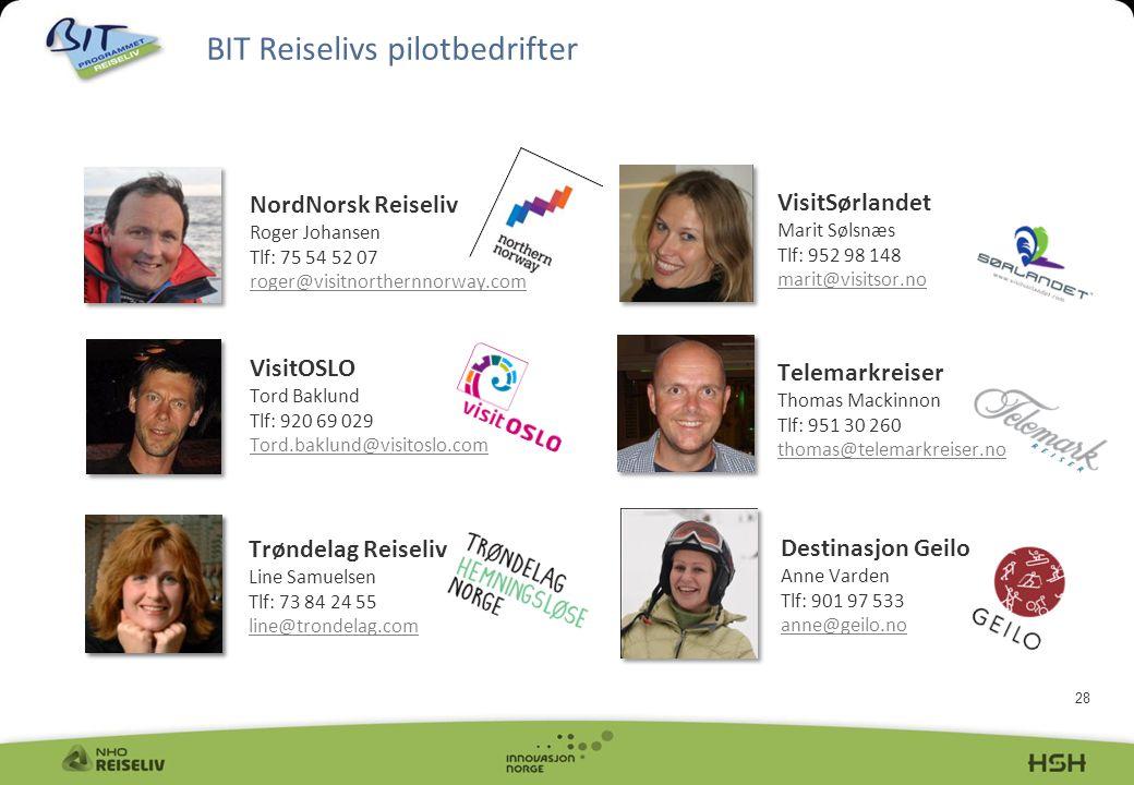28 BIT Reiselivs pilotbedrifter sdgghsgsg NordNorsk Reiseliv Roger Johansen Tlf: 75 54 52 07 roger@visitnorthernnorway.com roger@visitnorthernnorway.c