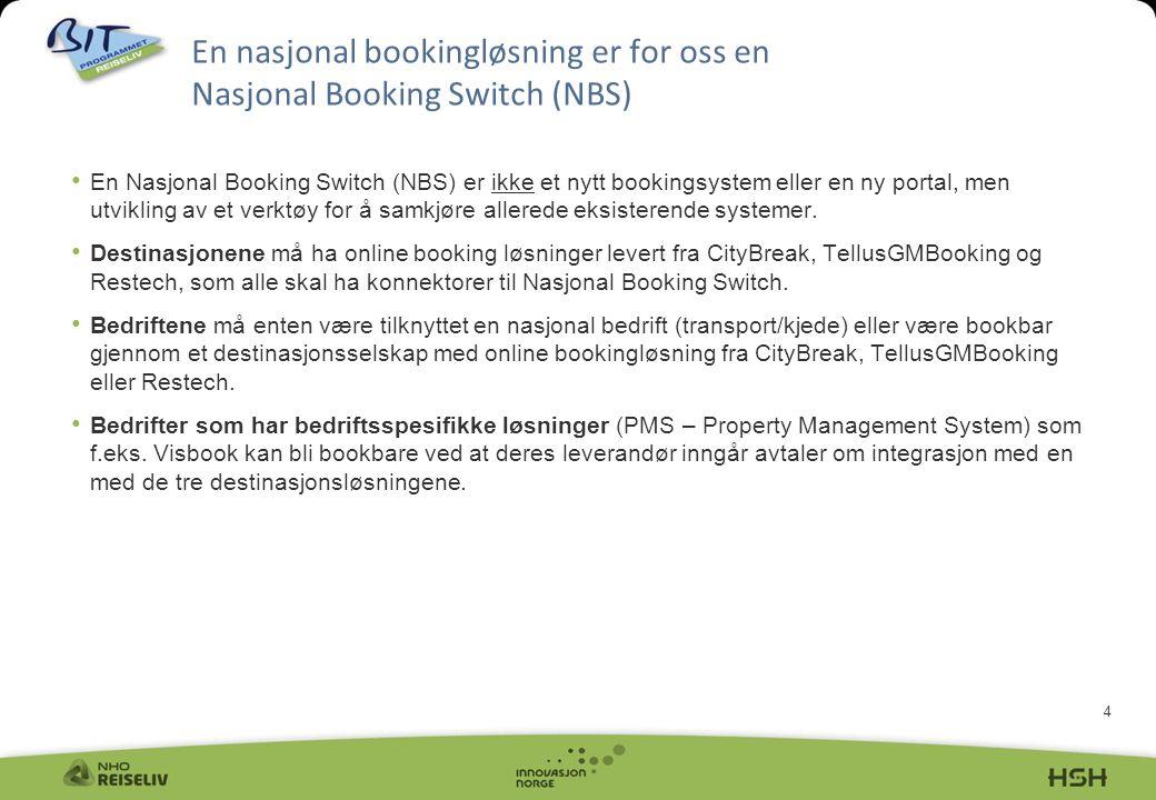 4 • En Nasjonal Booking Switch (NBS) er ikke et nytt bookingsystem eller en ny portal, men utvikling av et verktøy for å samkjøre allerede eksisterende systemer.