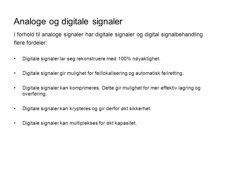 Støy i analoge og digitale signaler += Figur 4.5Støypåvirkning på analoge og digitale signaler.