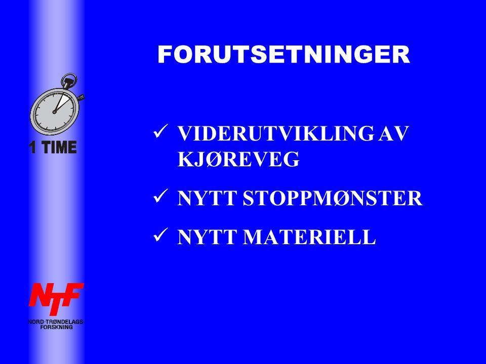 FORUTSETNINGER  VIDERUTVIKLING AV KJØREVEG  NYTT STOPPMØNSTER  NYTT MATERIELL