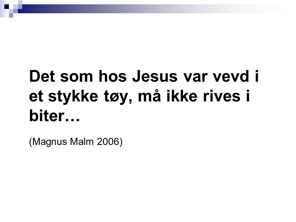 Det som hos Jesus var vevd i et stykke tøy, må ikke rives i biter… (Magnus Malm 2006)