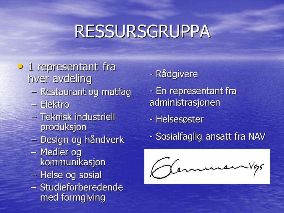 RESSURSGRUPPA • 1 representant fra hver avdeling –Restaurant og matfag –Elektro –Teknisk industriell produksjon –Design og håndverk –Medier og kommuni