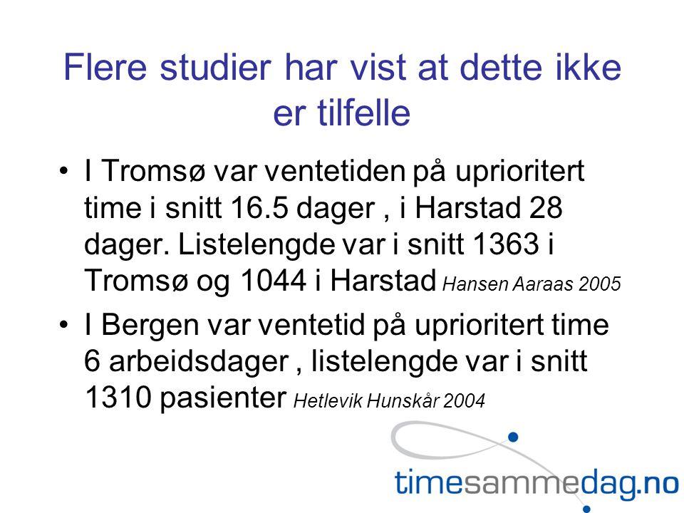 Flere studier har vist at dette ikke er tilfelle •I Tromsø var ventetiden på uprioritert time i snitt 16.5 dager, i Harstad 28 dager.
