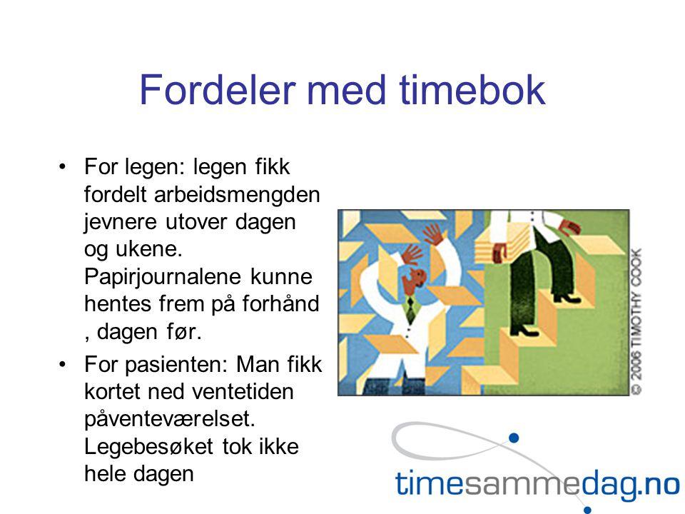 Fordeler med timebok •For legen: legen fikk fordelt arbeidsmengden jevnere utover dagen og ukene.