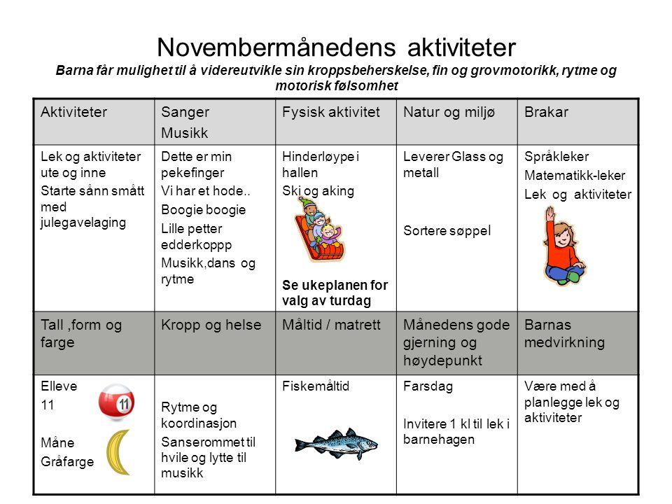 Novembermånedens aktiviteter Barna får mulighet til å videreutvikle sin kroppsbeherskelse, fin og grovmotorikk, rytme og motorisk følsomhet Aktivitete