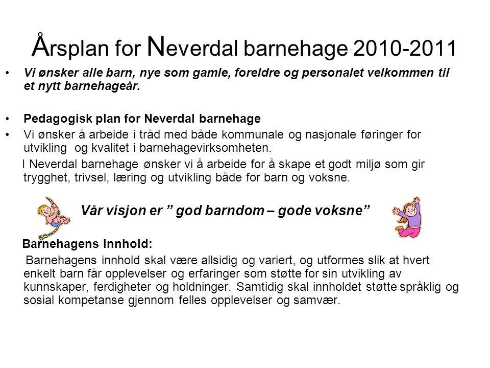 Å rsplan for N everdal barnehage 2010-2011 •Vi ønsker alle barn, nye som gamle, foreldre og personalet velkommen til et nytt barnehageår. •Pedagogisk
