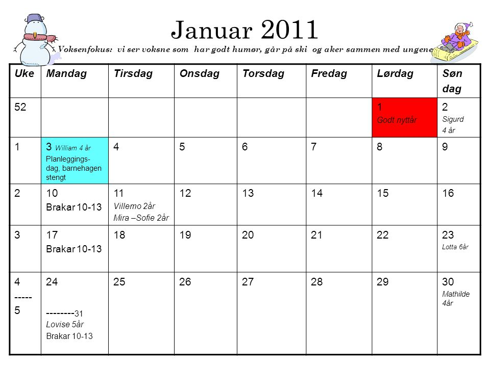 Januar 2011 Voksenfokus: vi ser voksne som har godt humør, går på ski og aker sammen med ungene UkeMandagTirsdagOnsdagTorsdagFredagLørdagSøn dag 521 G