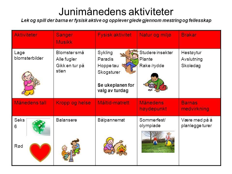 Junimånedens aktiviteter Lek og spill der barna er fysisk aktive og opplever glede gjennom mestring og fellesskap AktiviteterSanger Musikk Fysisk akti