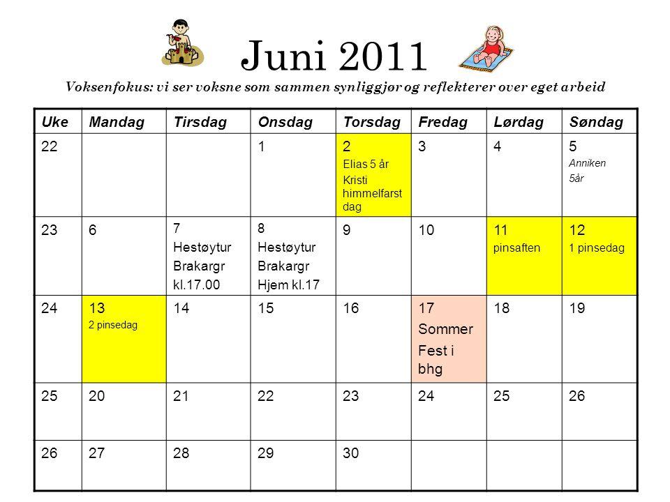 Juni 2011 Voksenfokus: vi ser voksne som sammen synliggjør og reflekterer over eget arbeid UkeMandagTirsdagOnsdagTorsdagFredagLørdagSøndag 2212 Elias