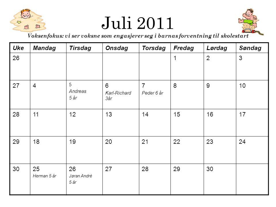 Juli 2011 Voksenfokus: vi ser voksne som engasjerer seg i barnas forventning til skolestart UkeMandagTirsdagOnsdagTorsdagFredagLørdagSøndag 26123 274