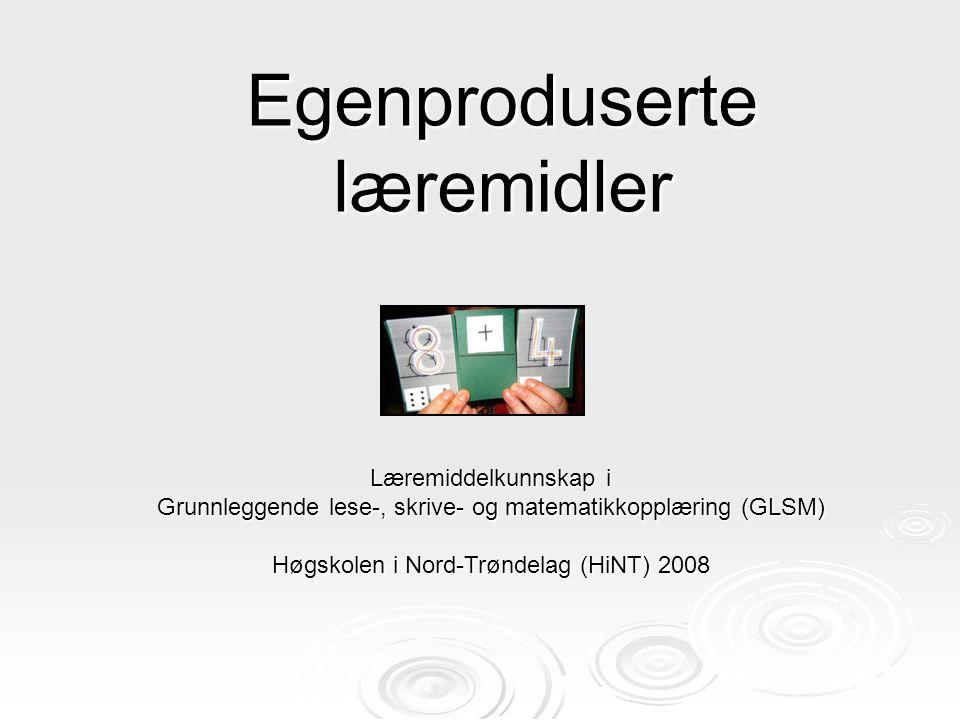 Egenproduserte læremidler Læremiddelkunnskap i Grunnleggende lese-, skrive- og matematikkopplæring (GLSM) Høgskolen i Nord-Trøndelag (HiNT) 2008