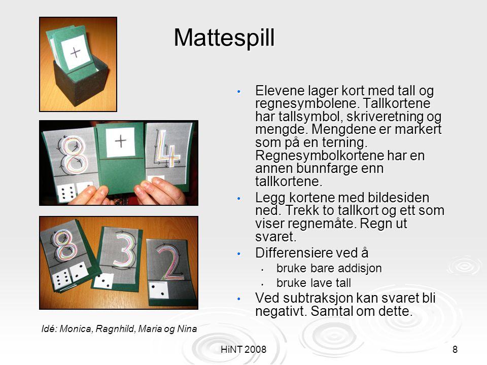 HiNT 20088 Mattespill • Elevene lager kort med tall og regnesymbolene. Tallkortene har tallsymbol, skriveretning og mengde. Mengdene er markert som på