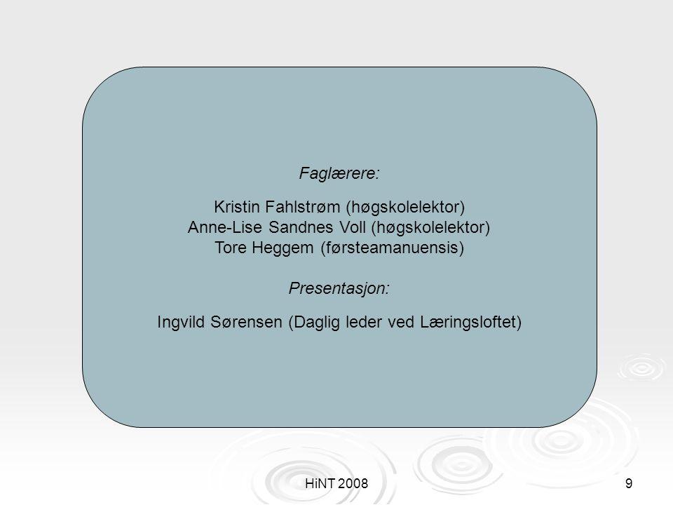 HiNT 20089 Faglærere: Kristin Fahlstrøm (høgskolelektor) Anne-Lise Sandnes Voll (høgskolelektor) Tore Heggem (førsteamanuensis) Presentasjon: Ingvild