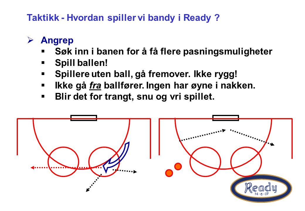 Taktikk - Hvordan spiller vi bandy i Ready ?  Angrep  Søk inn i banen for å få flere pasningsmuligheter  Spill ballen!  Spillere uten ball, gå fre