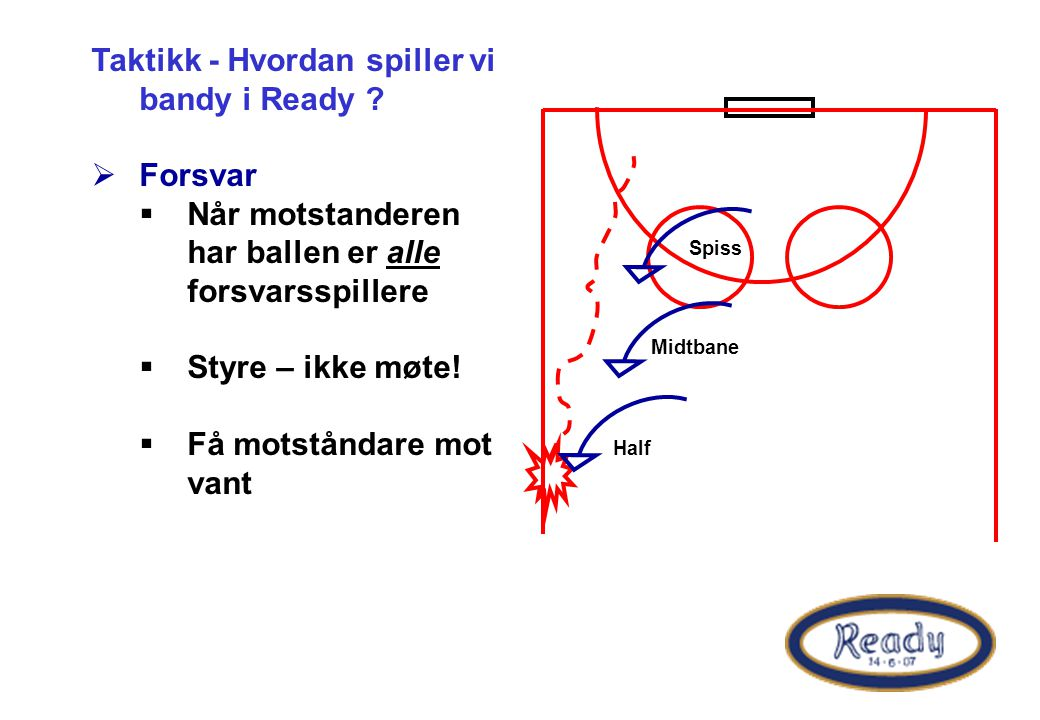 Taktikk - Hvordan spiller vi bandy i Ready ?  Forsvar  Når motstanderen har ballen er alle forsvarsspillere  Styre – ikke møte!  Få motståndare mo